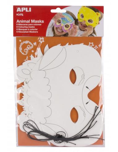 Máscara de cartón para colorear animales